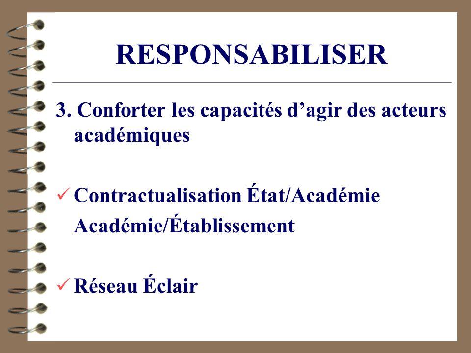 RESPONSABILISER 3. Conforter les capacités d'agir des acteurs académiques. Contractualisation État/Académie.