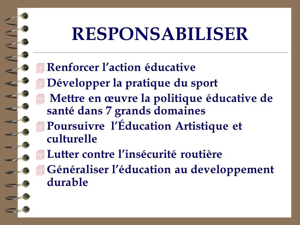 RESPONSABILISER Renforcer l'action éducative