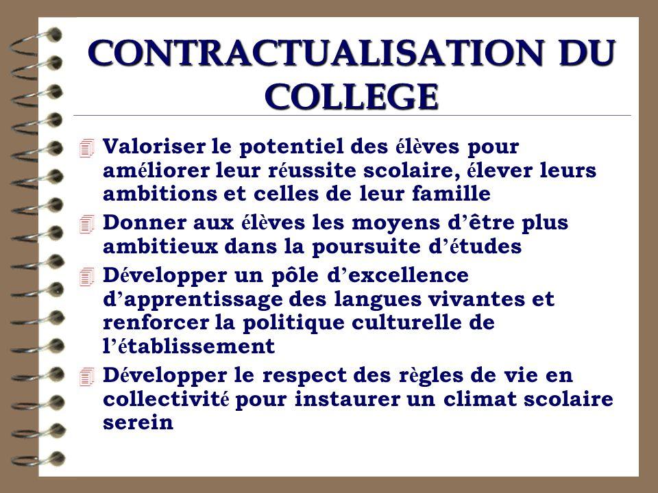 CONTRACTUALISATION DU COLLEGE