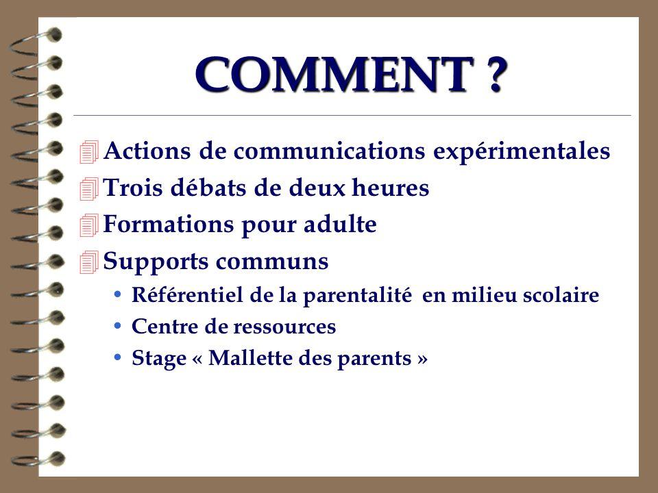 COMMENT Actions de communications expérimentales