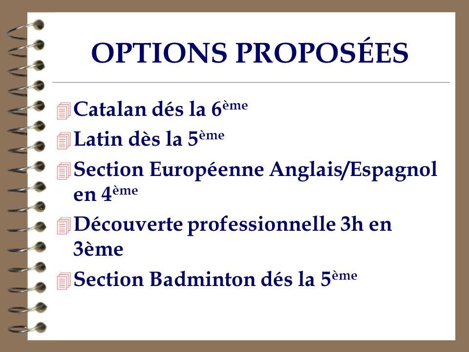 OPTIONS PROPOSÉES Catalan dés la 6ème Latin dès la 5ème