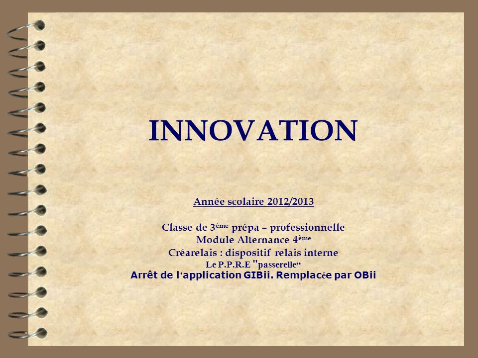 INNOVATION Année scolaire 2012/2013
