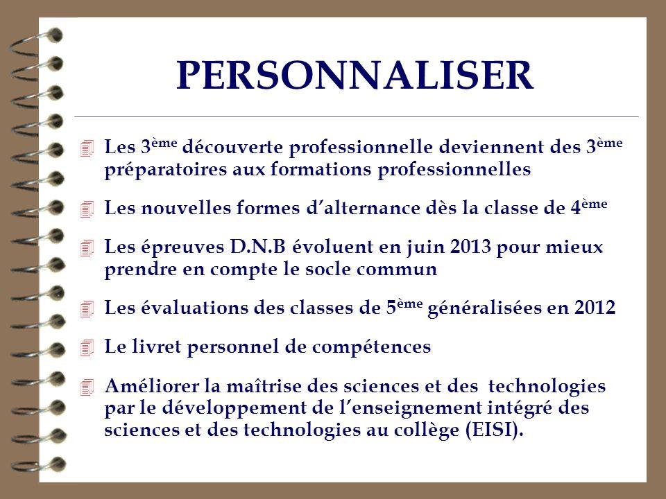 PERSONNALISER Les 3ème découverte professionnelle deviennent des 3ème préparatoires aux formations professionnelles.