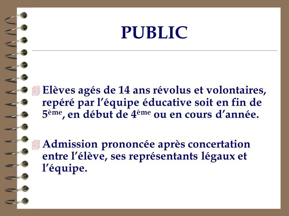 PUBLIC Elèves agés de 14 ans révolus et volontaires, repéré par l'équipe éducative soit en fin de 5ème, en début de 4ème ou en cours d'année.