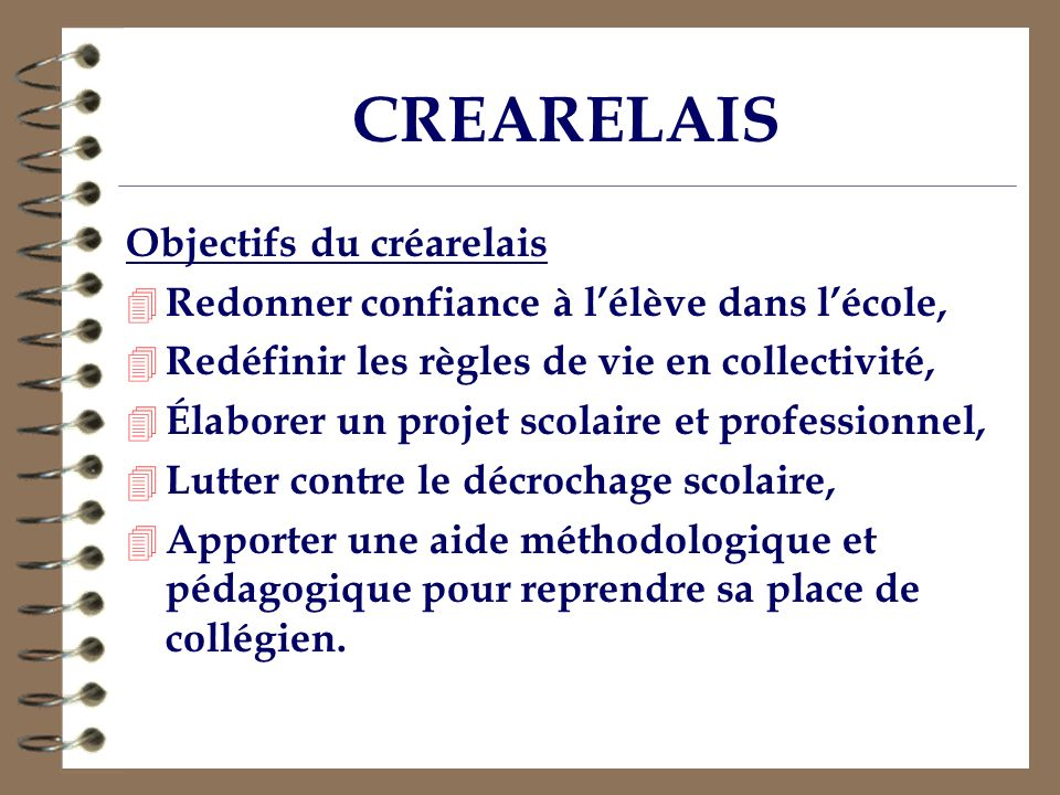 CREARELAIS Objectifs du créarelais