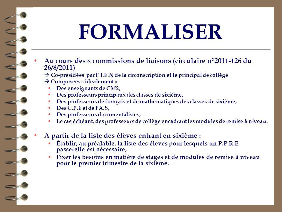 FORMALISER Au cours des « commissions de liaisons (circulaire n°2011-126 du 26/8/2011)