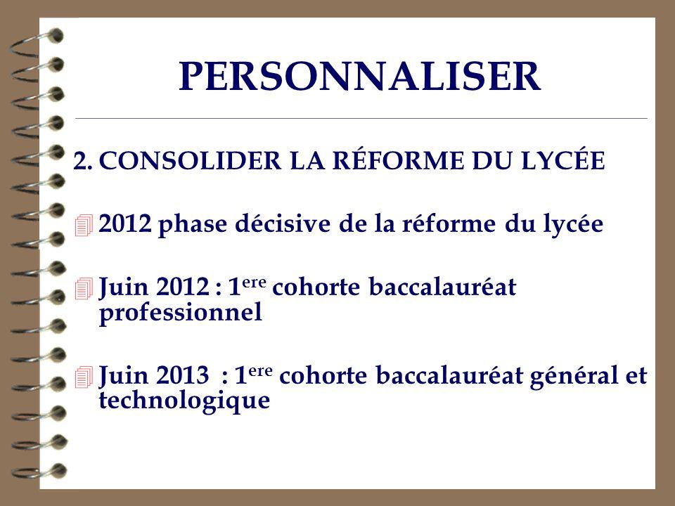 PERSONNALISER 2. CONSOLIDER LA RÉFORME DU LYCÉE
