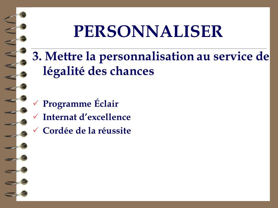 PERSONNALISER 3. Mettre la personnalisation au service de légalité des chances. Programme Éclair. Internat d'excellence.