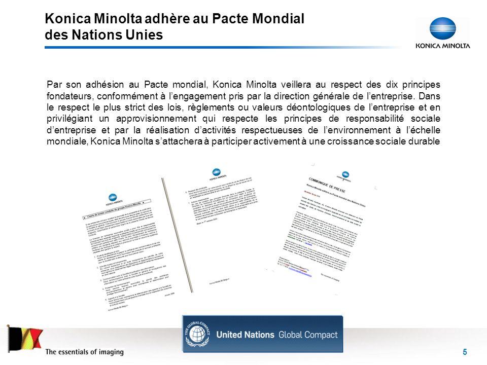 Konica Minolta adhère au Pacte Mondial des Nations Unies