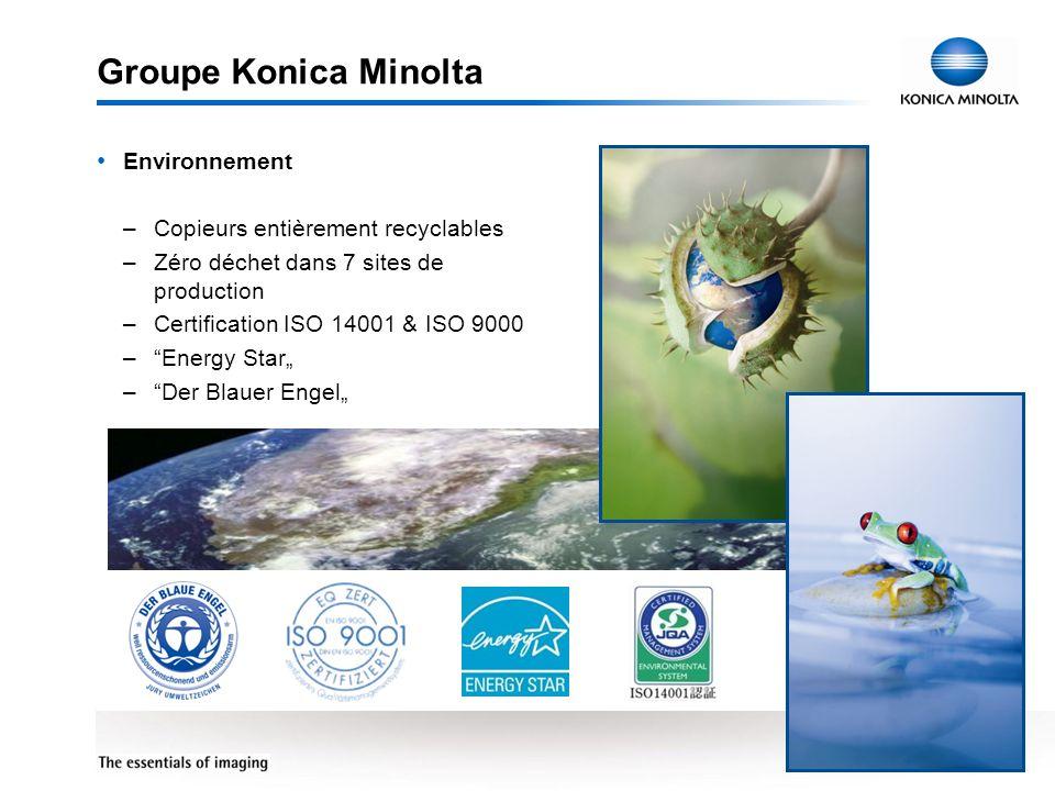 Groupe Konica Minolta Environnement Copieurs entièrement recyclables