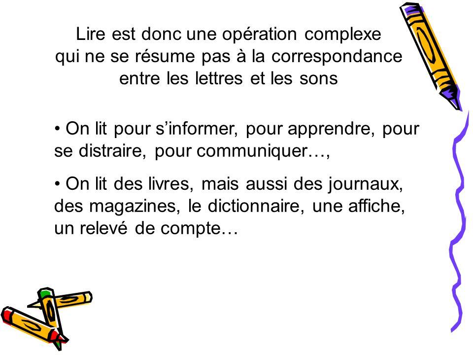 Lire est donc une opération complexe qui ne se résume pas à la correspondance entre les lettres et les sons