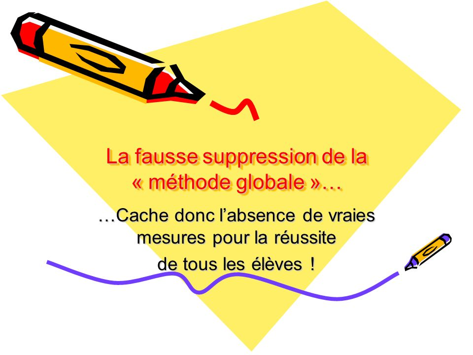 La fausse suppression de la « méthode globale »…