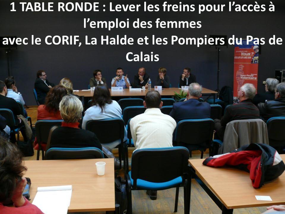1 TABLE RONDE : Lever les freins pour l'accès à l'emploi des femmes avec le CORIF, La Halde et les Pompiers du Pas de Calais