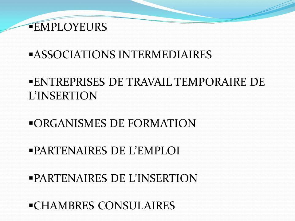 EMPLOYEURS ASSOCIATIONS INTERMEDIAIRES. ENTREPRISES DE TRAVAIL TEMPORAIRE DE L'INSERTION. ORGANISMES DE FORMATION.