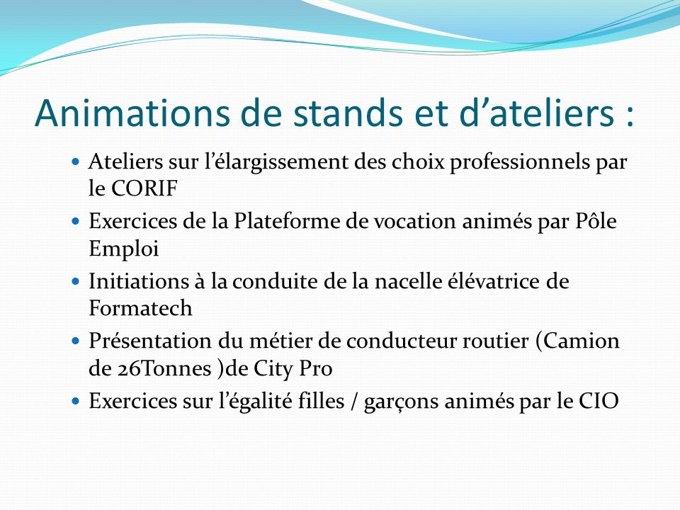 Animations de stands et d'ateliers :