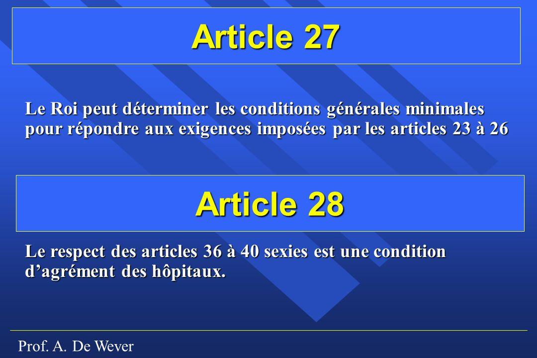 Article 27 Le Roi peut déterminer les conditions générales minimales pour répondre aux exigences imposées par les articles 23 à 26.