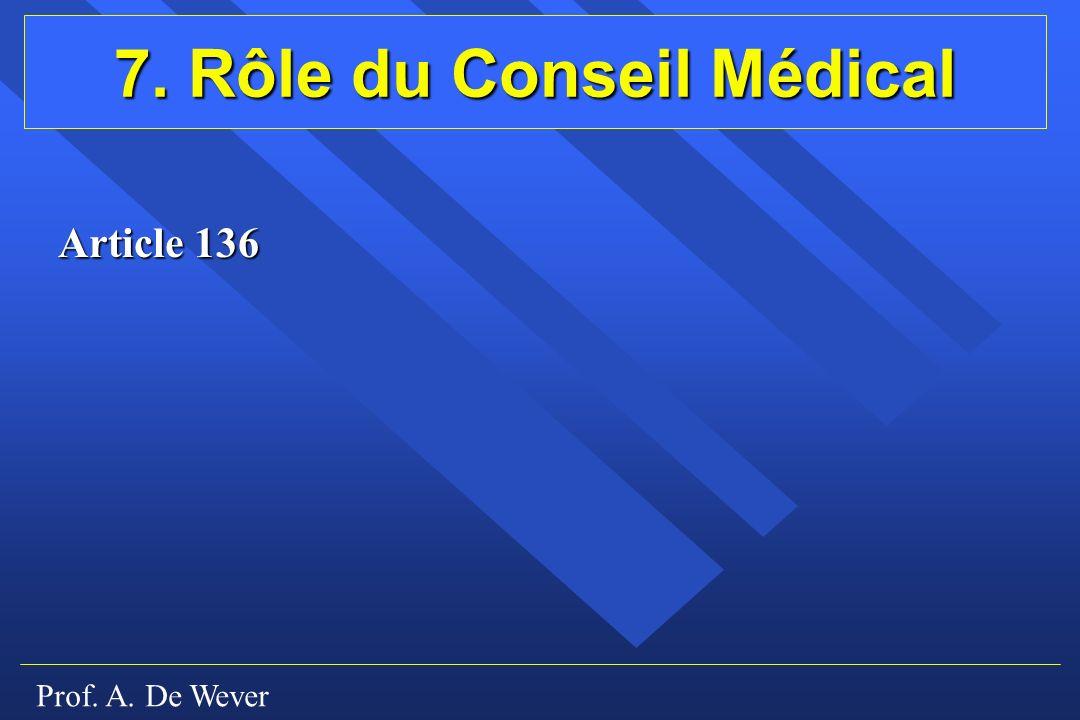 7. Rôle du Conseil Médical