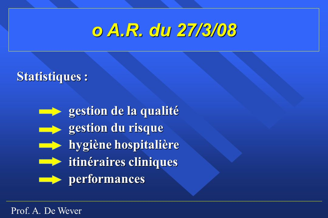 o A.R. du 27/3/08 Statistiques : gestion de la qualité