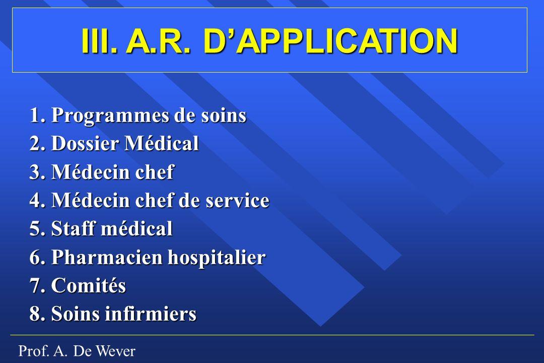 III. A.R. D'APPLICATION 1. Programmes de soins 2. Dossier Médical