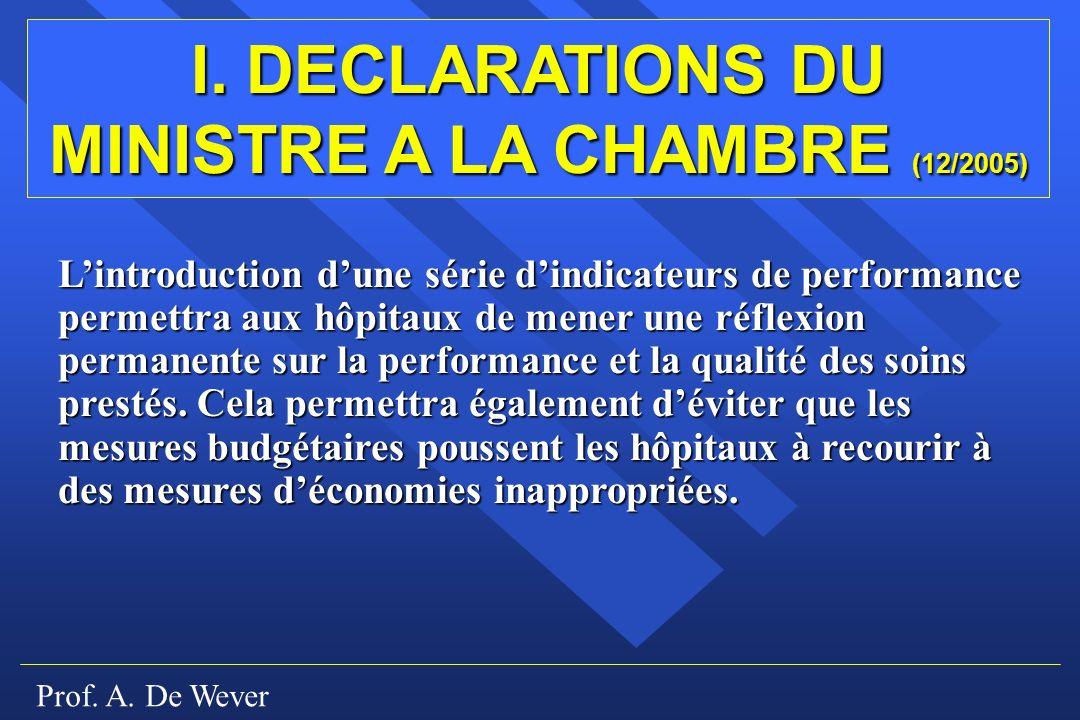 I. DECLARATIONS DU MINISTRE A LA CHAMBRE (12/2005)