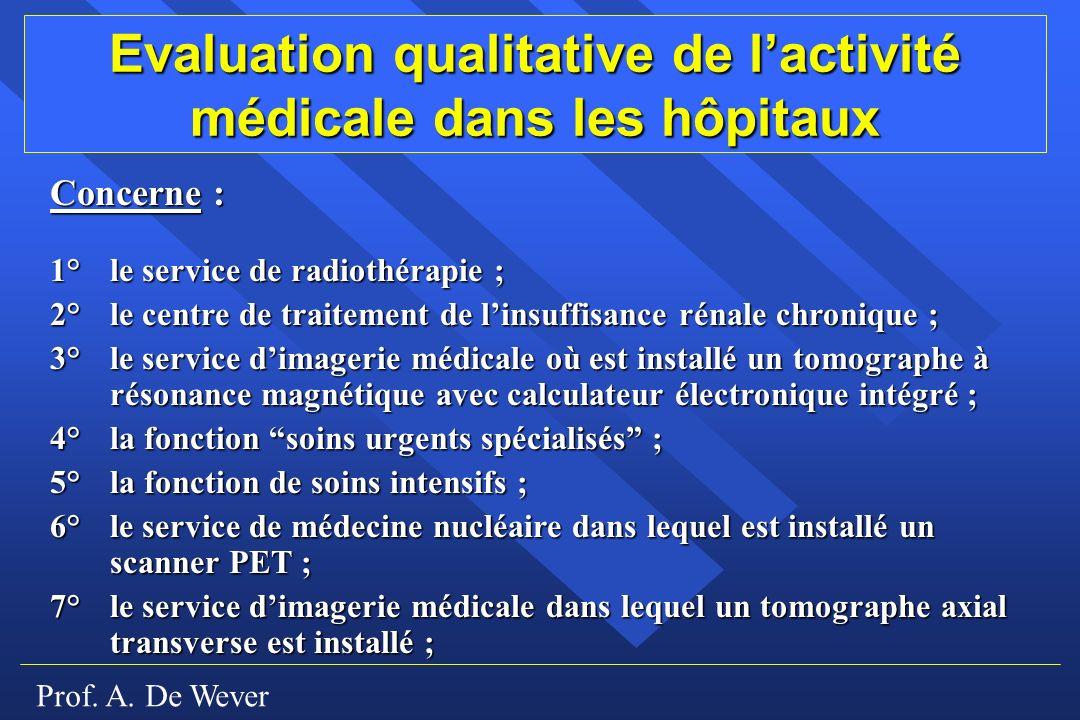 Evaluation qualitative de l'activité médicale dans les hôpitaux