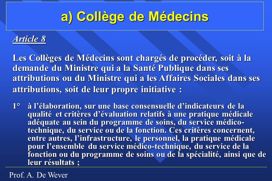 a) Collège de Médecins Article 8