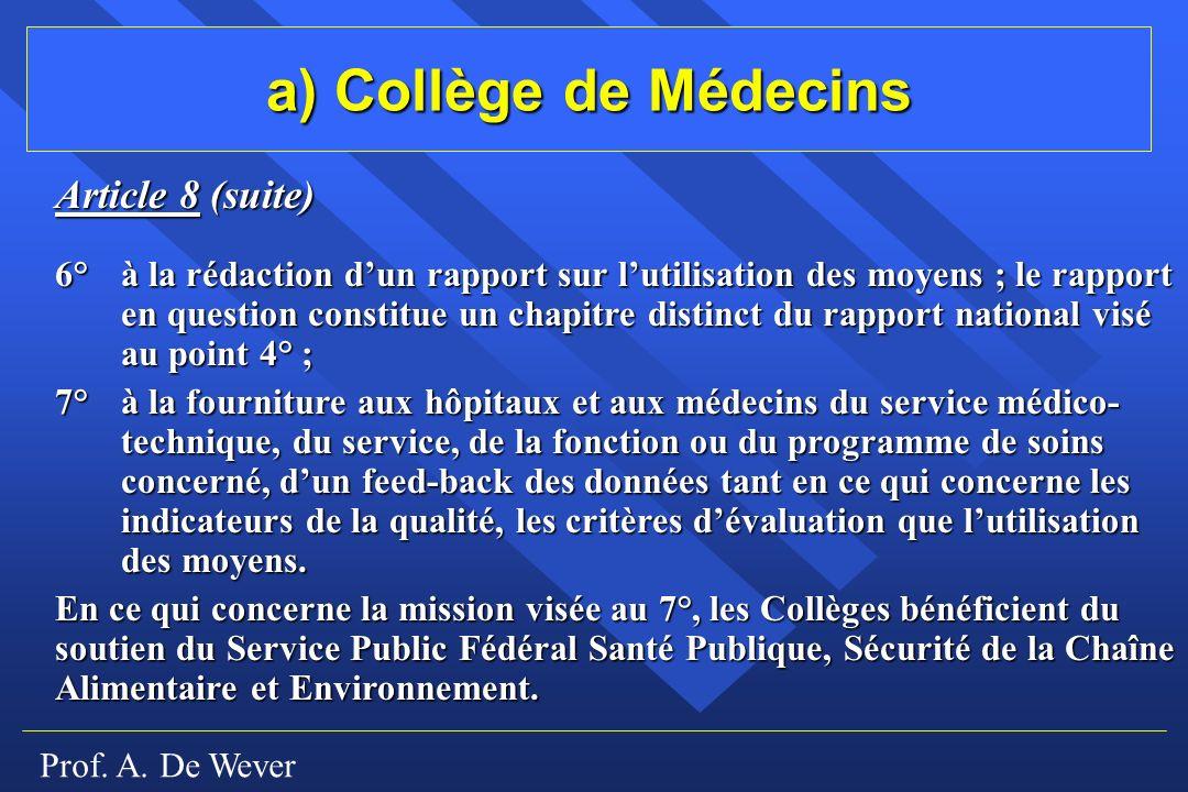a) Collège de Médecins Article 8 (suite)
