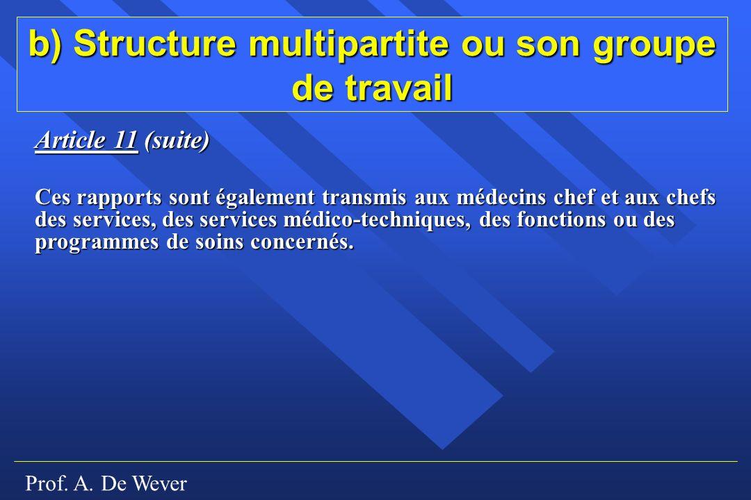 b) Structure multipartite ou son groupe de travail