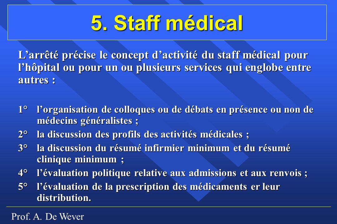 5. Staff médical L'arrêté précise le concept d'activité du staff médical pour l'hôpital ou pour un ou plusieurs services qui englobe entre autres :