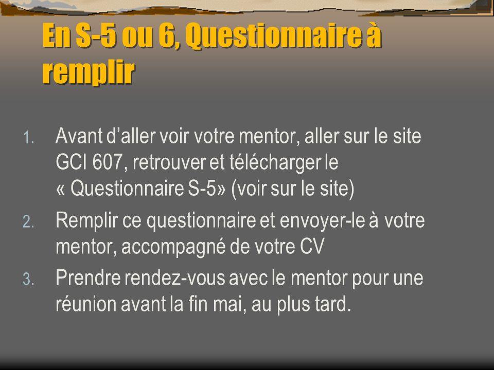 En S-5 ou 6, Questionnaire à remplir
