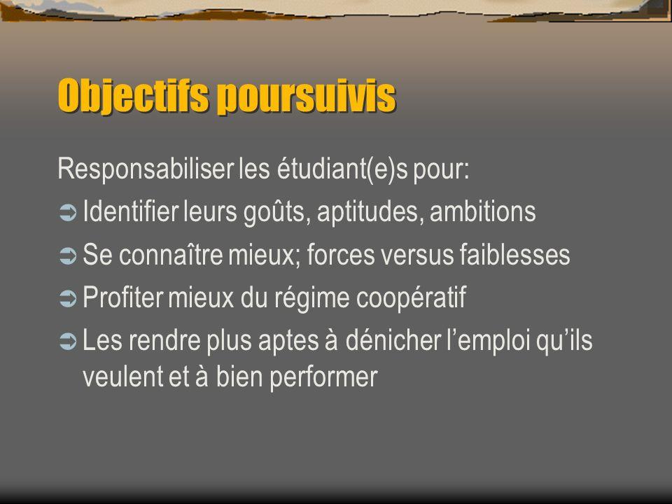 Objectifs poursuivis Responsabiliser les étudiant(e)s pour: