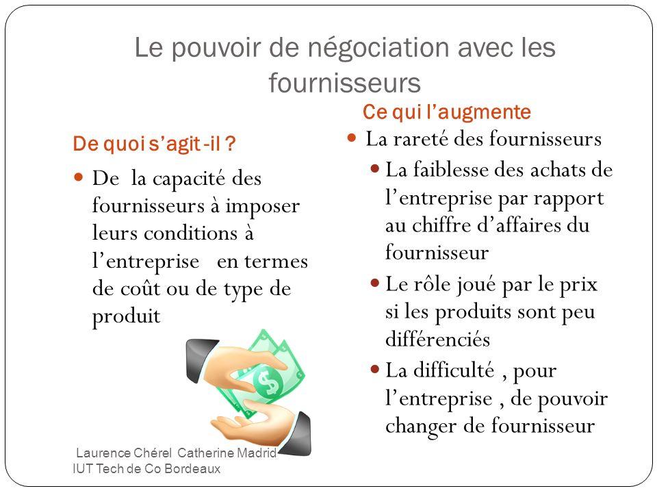 Le pouvoir de négociation avec les fournisseurs