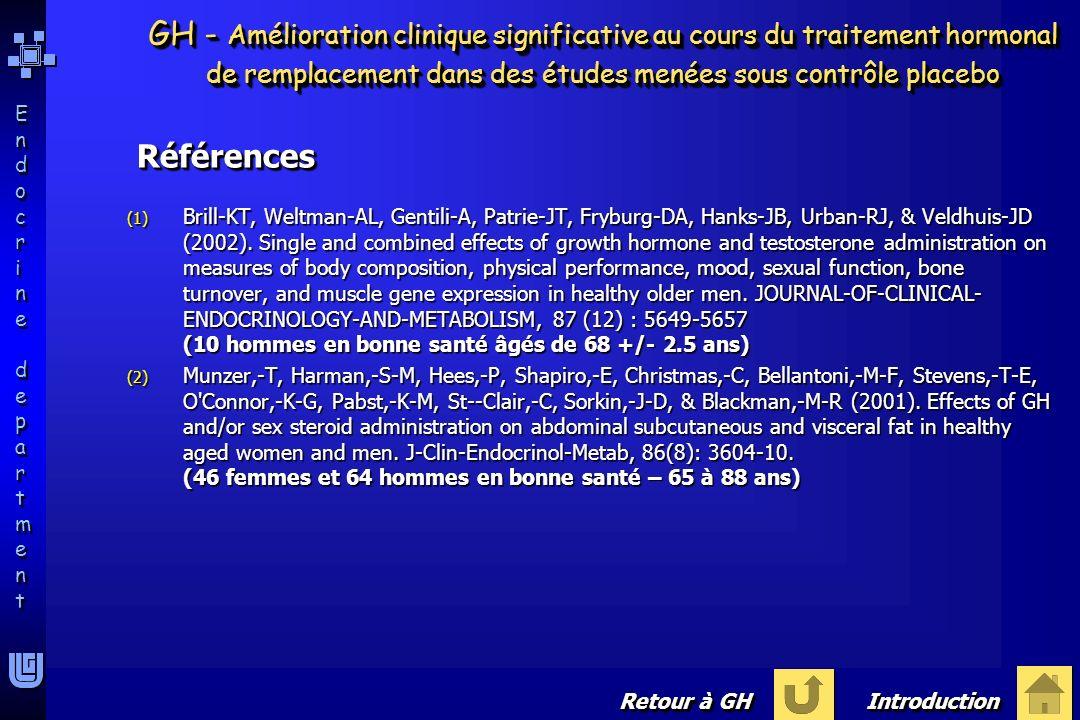 GH - Amélioration clinique significative au cours du traitement hormonal de remplacement dans des études menées sous contrôle placebo