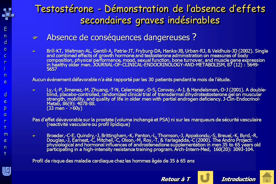 Testostérone - Démonstration de l'absence d'effets secondaires graves indésirables