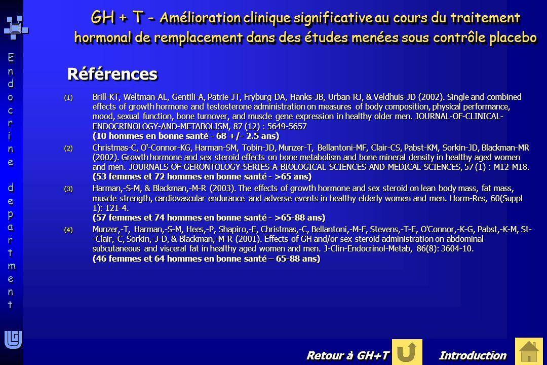 GH + T - Amélioration clinique significative au cours du traitement hormonal de remplacement dans des études menées sous contrôle placebo