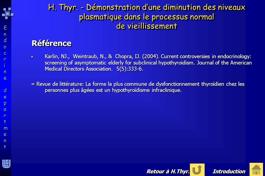 H. Thyr. - Démonstration d'une diminution des niveaux plasmatique dans le processus normal de vieillissement