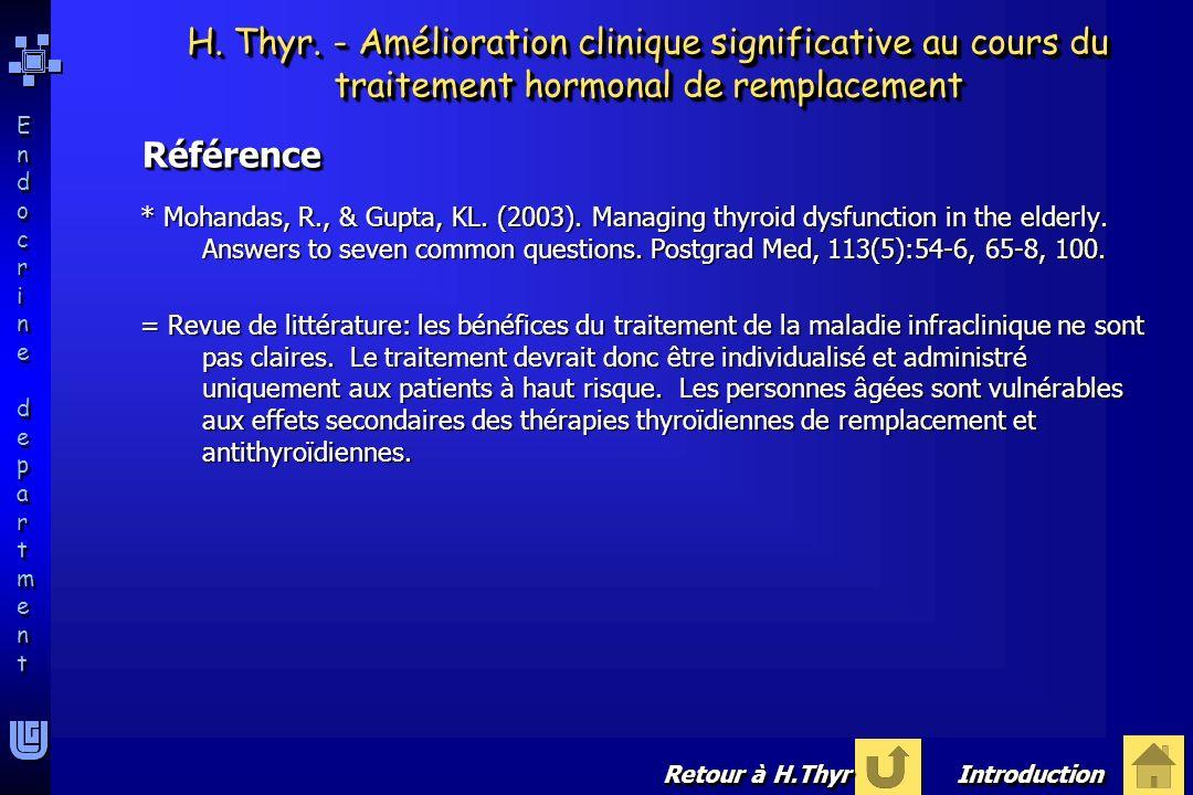 H. Thyr. - Amélioration clinique significative au cours du traitement hormonal de remplacement