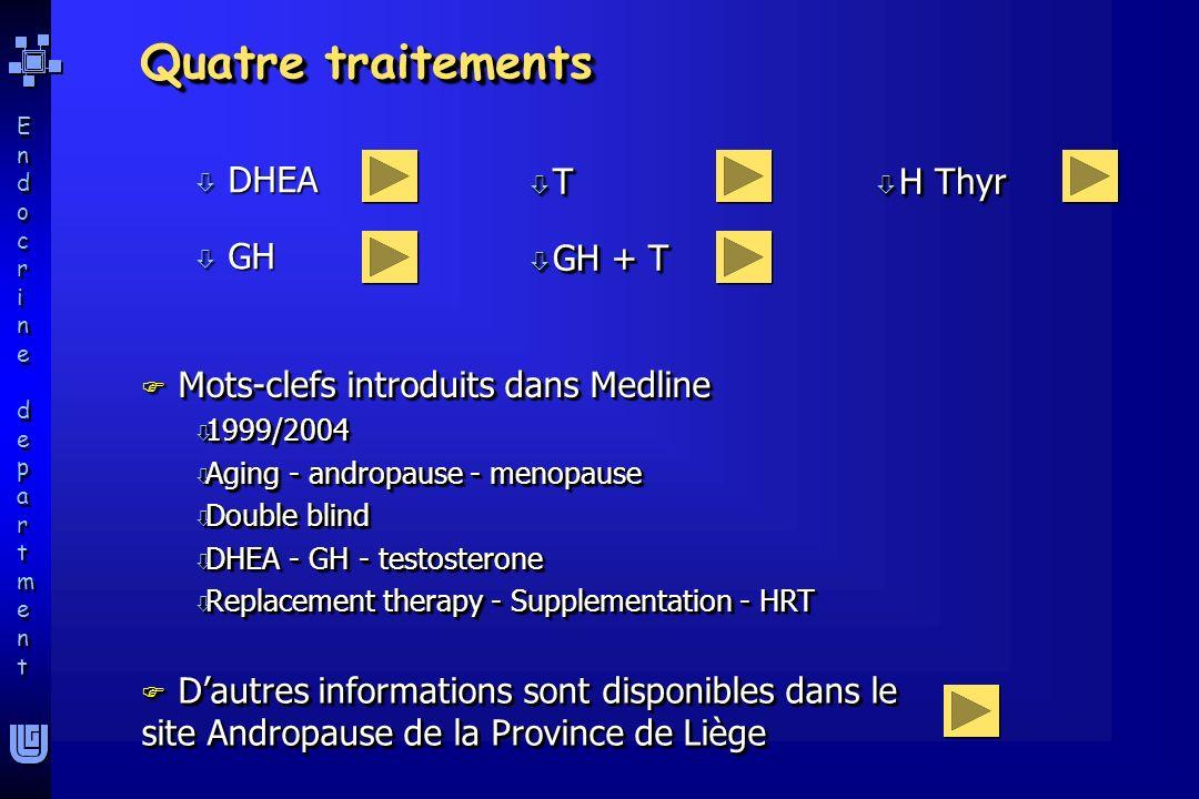 Quatre traitements DHEA GH T GH + T H Thyr