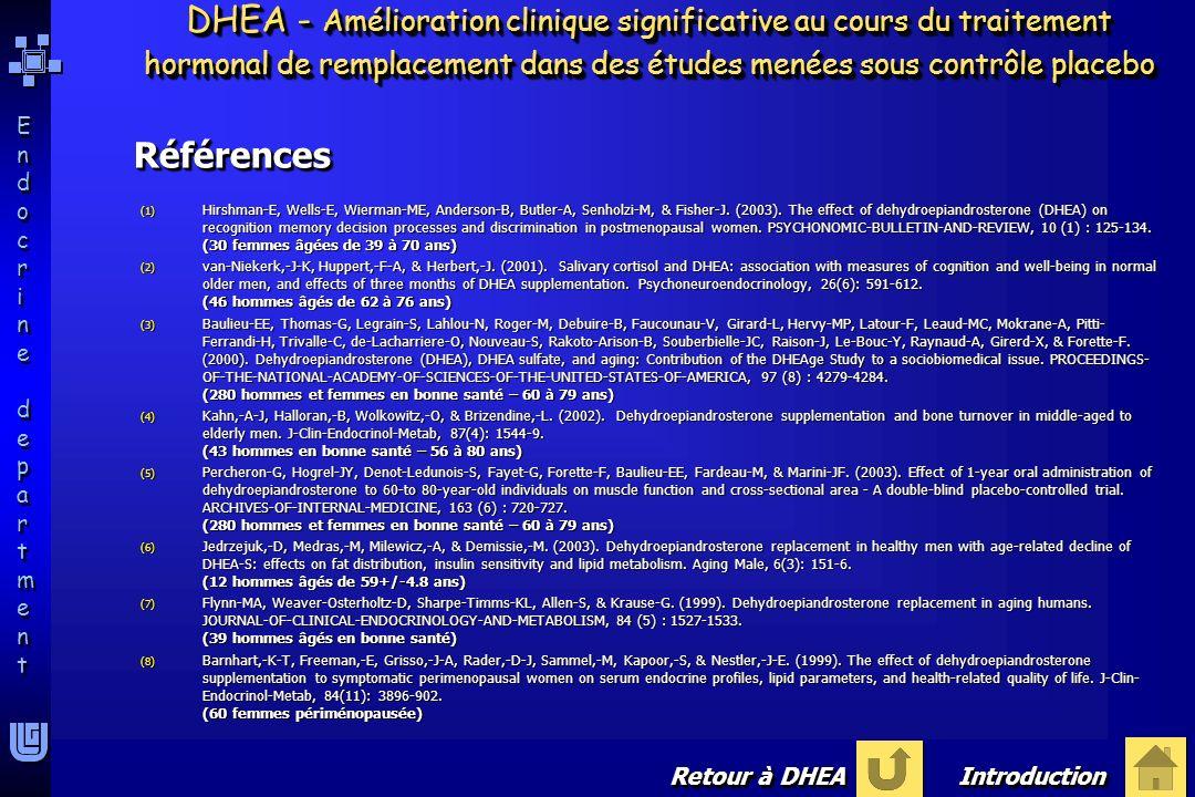 DHEA - Amélioration clinique significative au cours du traitement hormonal de remplacement dans des études menées sous contrôle placebo