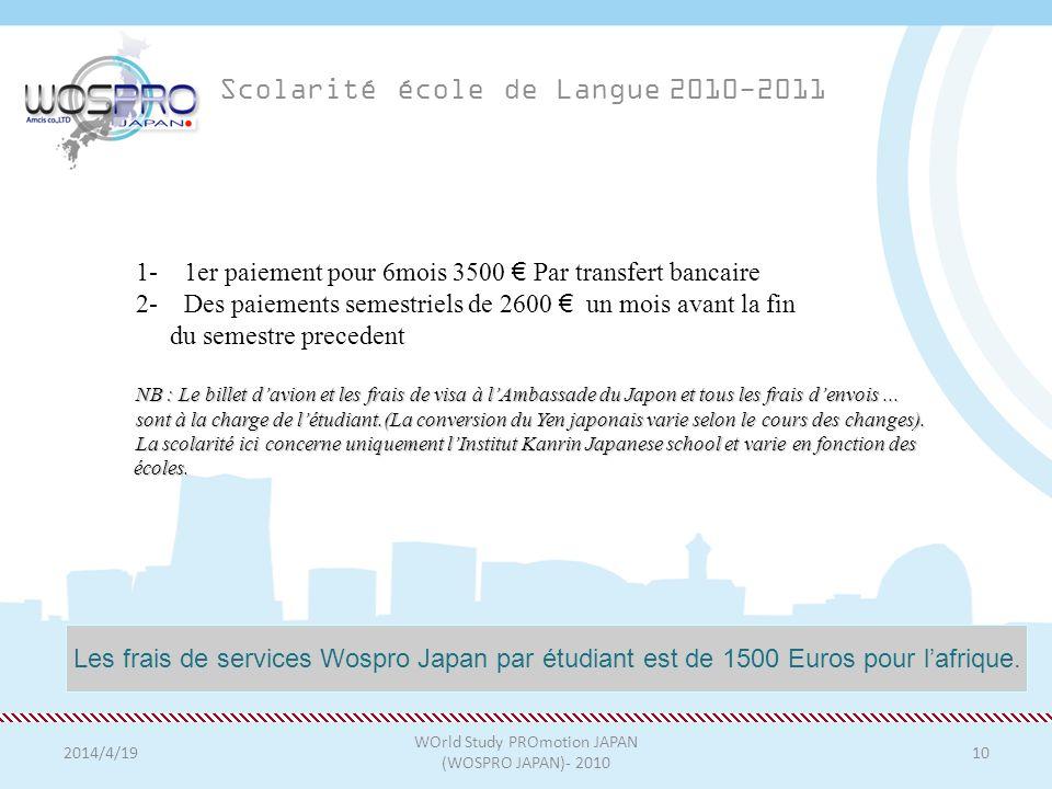 Scolarité école de Langue 2010-2011