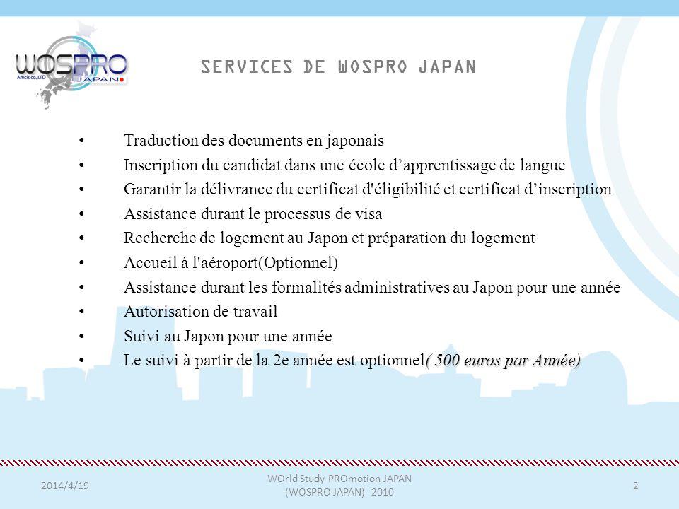 SERVICES DE WOSPRO JAPAN