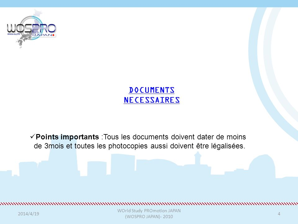 DOCUMENTS NECESSAIRES