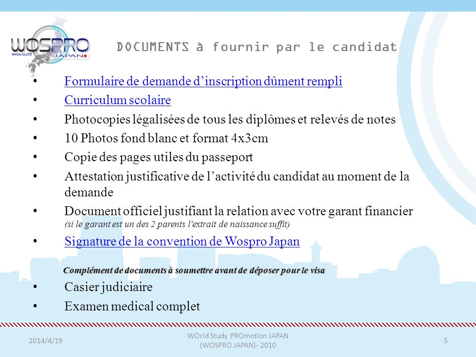 DOCUMENTS à fournir par le candidat