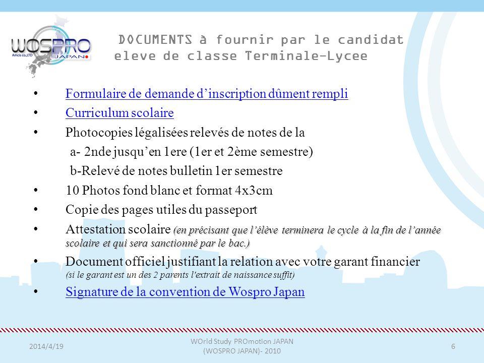 DOCUMENTS à fournir par le candidat eleve de classe Terminale-Lycee