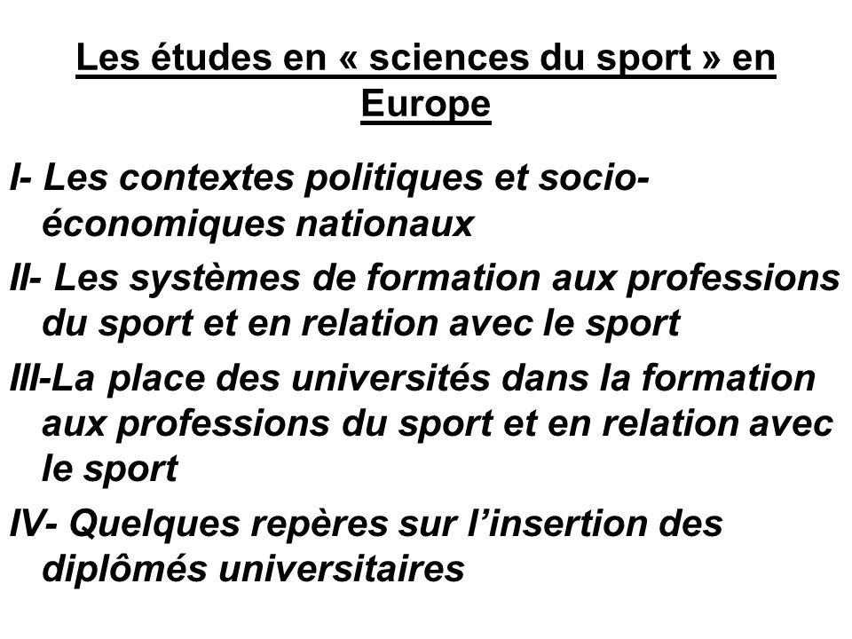 Les études en « sciences du sport » en Europe