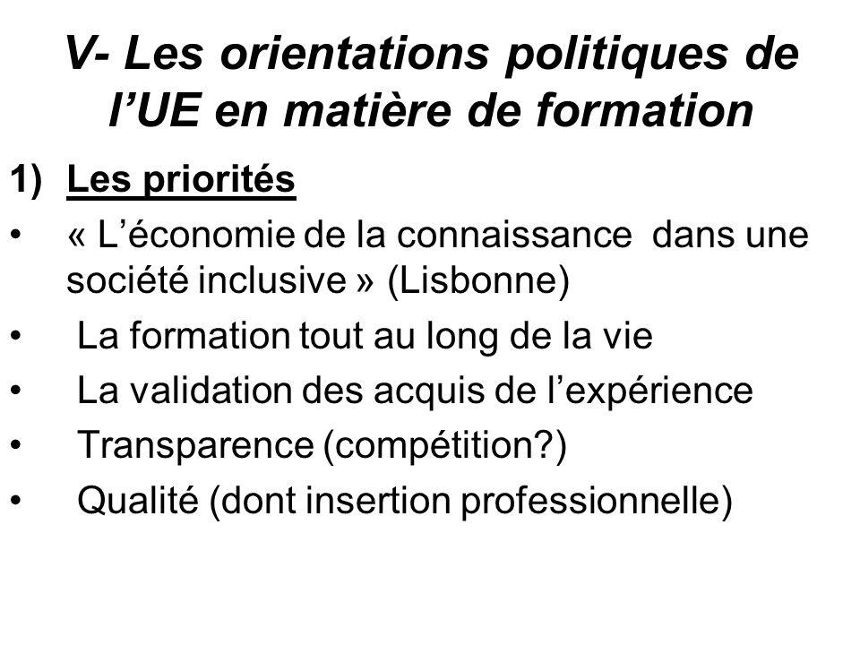 V- Les orientations politiques de l'UE en matière de formation