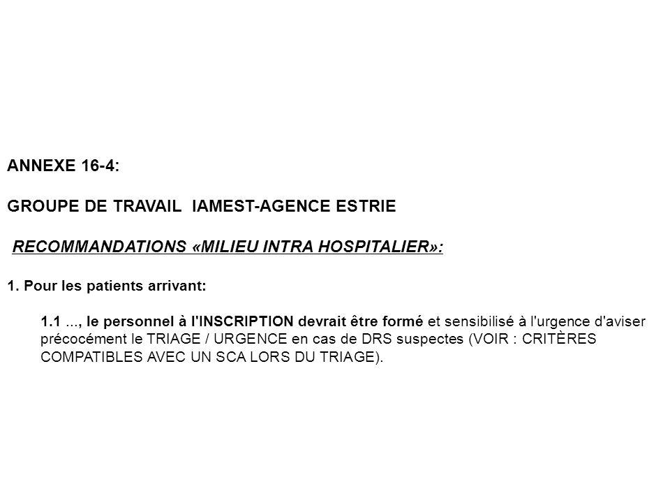 GROUPE DE TRAVAIL IAMEST-AGENCE ESTRIE