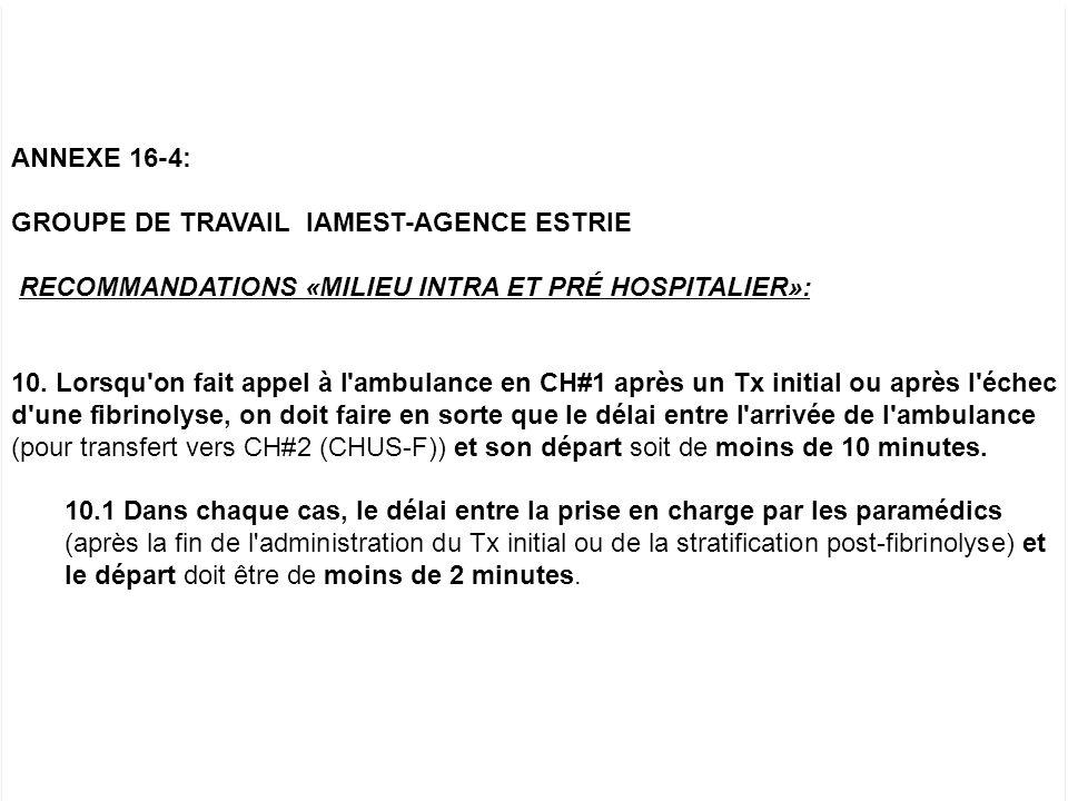 ANNEXE 16-4: GROUPE DE TRAVAIL IAMEST-AGENCE ESTRIE. RECOMMANDATIONS «MILIEU INTRA ET PRÉ HOSPITALIER»: