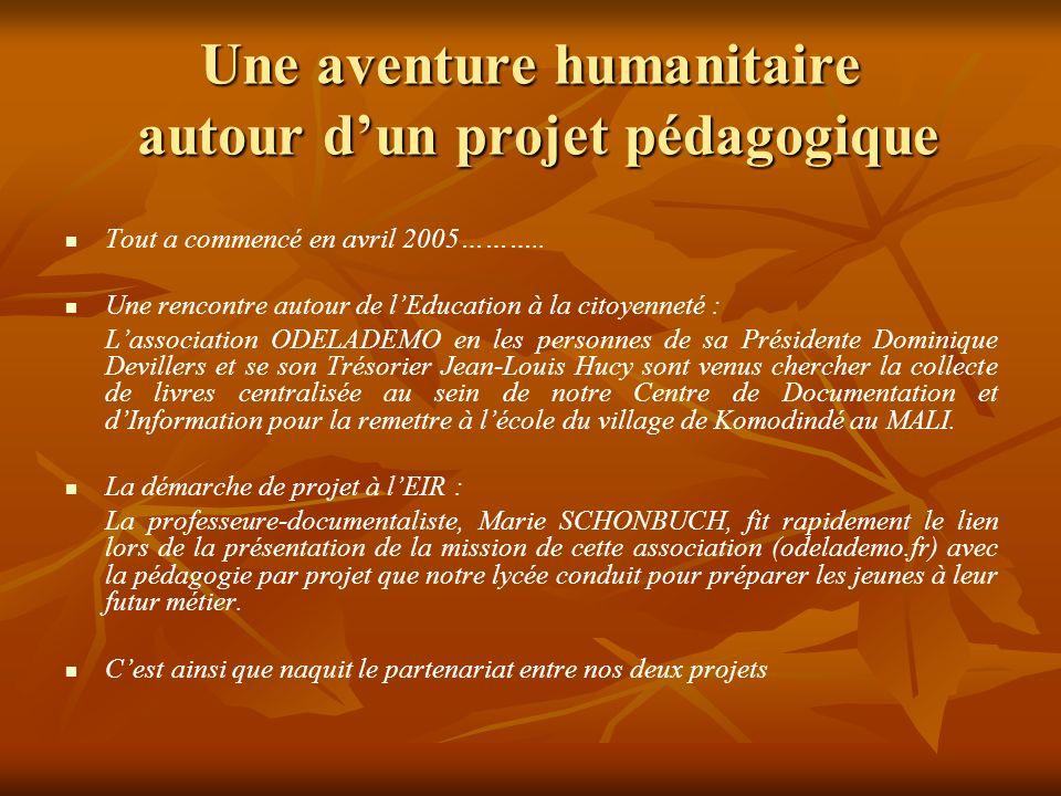 Une aventure humanitaire autour d'un projet pédagogique