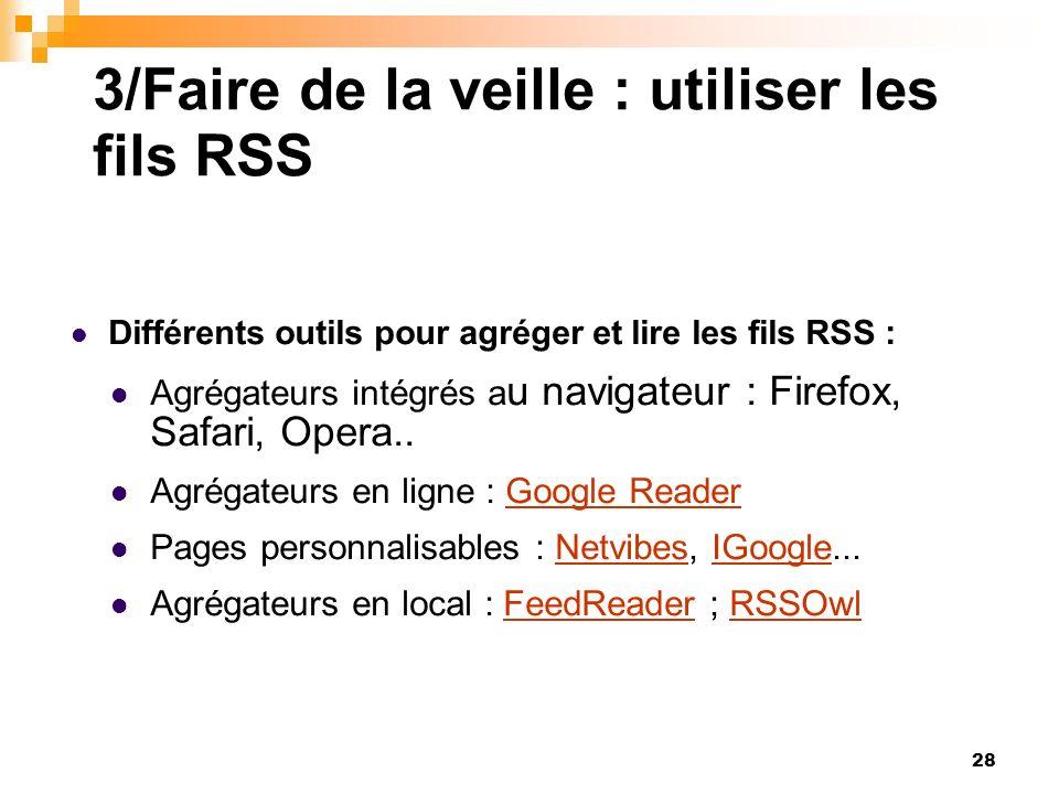 3/Faire de la veille : utiliser les fils RSS